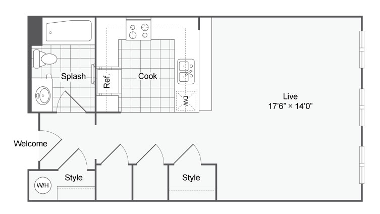 Floor Plan 2 | Studio Apartments In San Antonio | Arrive Eilan