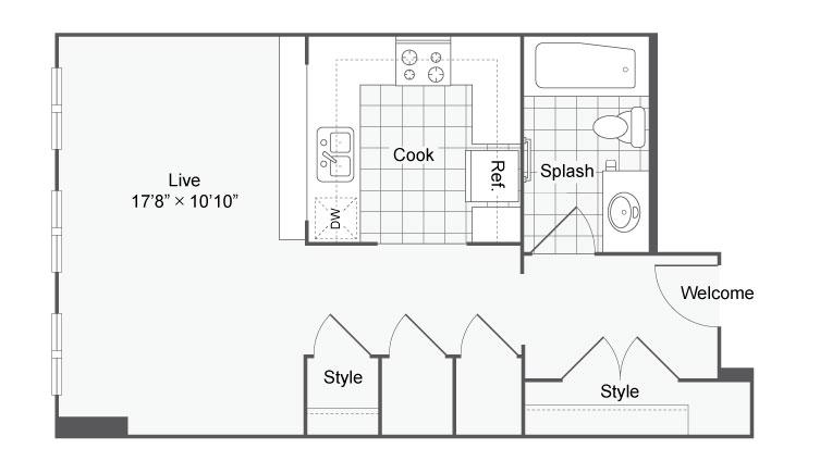 Floor Plan 12 | Studio Apartments In San Antonio | Arrive Eilan