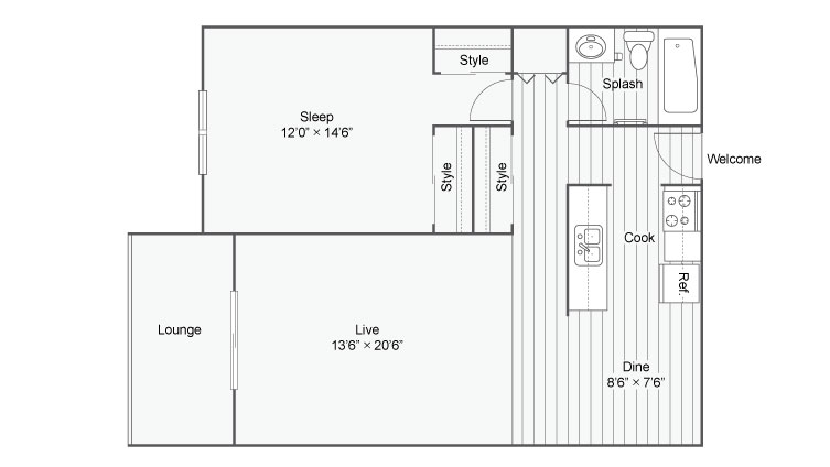 Floor Plan 1 | Eden Prairie Luxury Apartments | ReNew Eden Prairie
