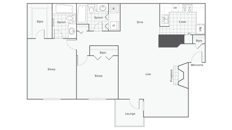2 Bedroom Floor Plan | Apartment In Sandy Springs GA | ReNew Sandy Springs