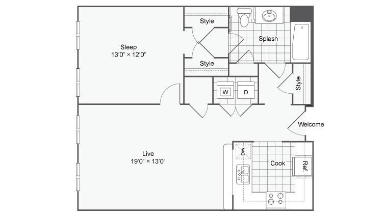 Floor Plan 26   Alamo Apartments San Antonio TX   Arrive Eilan