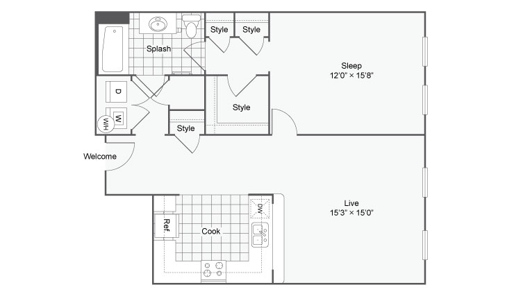Floor Plan 28 | Alamo Apartments San Antonio TX | Arrive Eilan