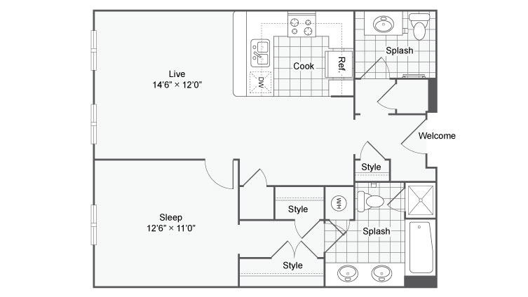 Floor Plan 32 | Alamo Apartments San Antonio TX | Arrive Eilan