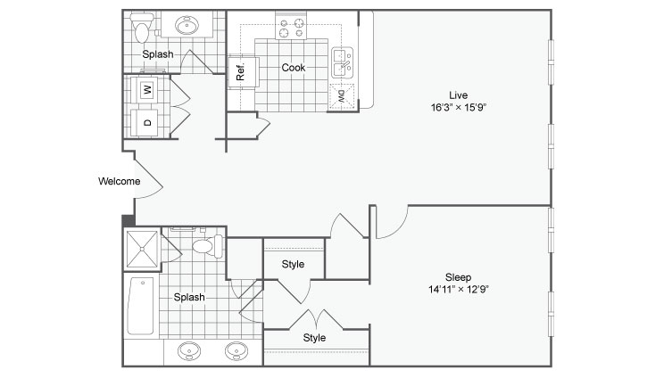 Floor Plan 37| Alamo Apartments San Antonio TX | Arrive Eilan