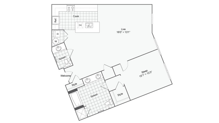 48 Bed 4848 Bath Apartment In San Antonio TX Arrive Eilan Simple 1 Bedroom Apartments San Antonio Tx Style Plans