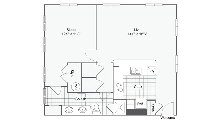 Floor Plan 59| Alamo Apartments San Antonio TX | Arrive Eilan