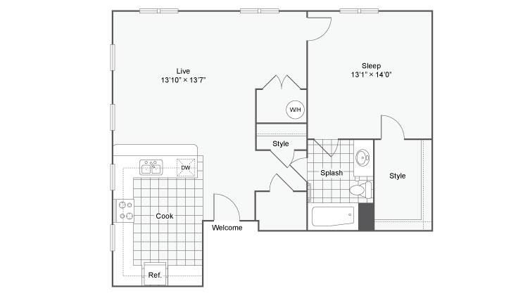 Floor Plan 61| Alamo Apartments San Antonio TX | Arrive Eilan