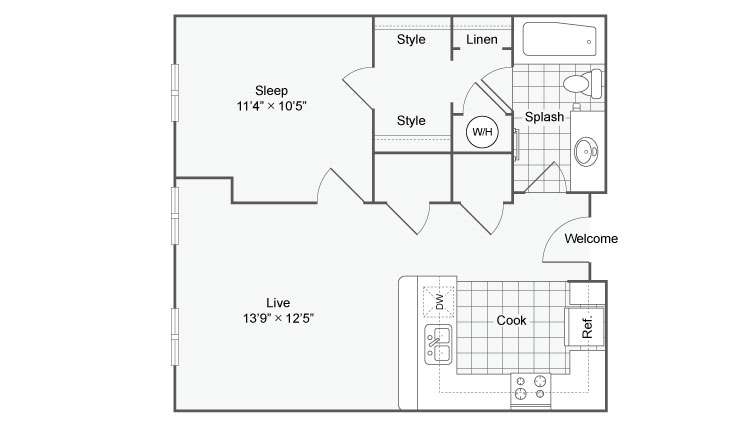 Floor Plan 64| Alamo Apartments San Antonio TX | Arrive Eilan