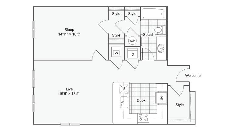 Floor Plan 70| Alamo Apartments San Antonio TX | Arrive Eilan