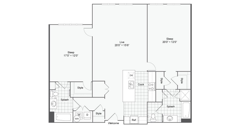 Floor Plan 80| Alamo Apartments San Antonio TX | Arrive Eilan