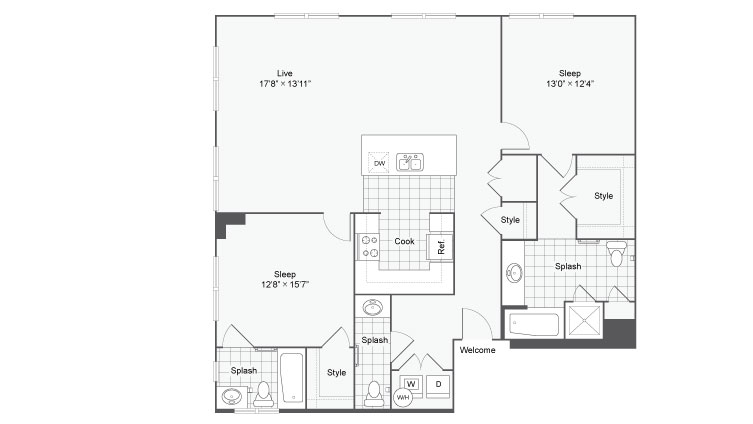 Floor Plan 82| Alamo Apartments San Antonio TX | Arrive Eilan