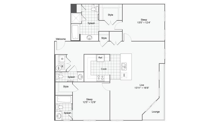 Floor Plan 83| Alamo Apartments San Antonio TX | Arrive Eilan