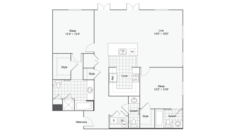 Floor Plan 86| Alamo Apartments San Antonio TX | Arrive Eilan
