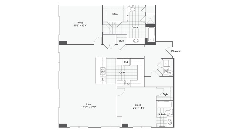 Floor Plan 87| Alamo Apartments San Antonio TX | Arrive Eilan