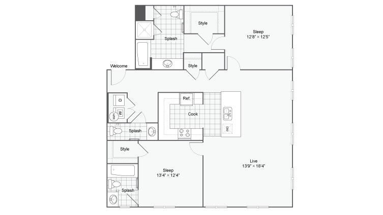 Floor Plan 88| Alamo Apartments San Antonio TX | Arrive Eilan