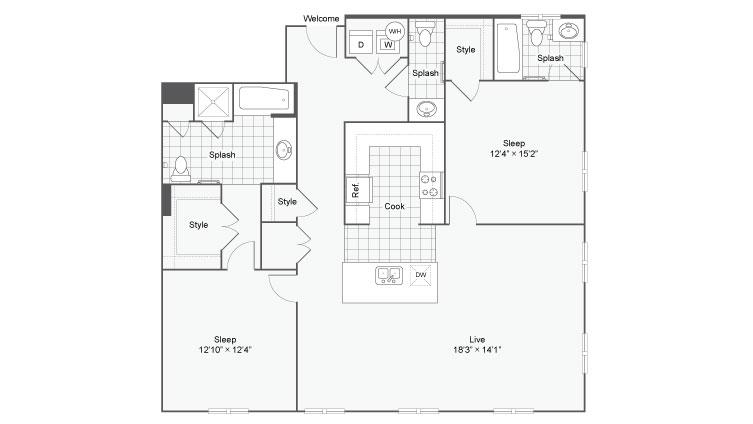 Floor Plan 89| Alamo Apartments San Antonio TX | Arrive Eilan