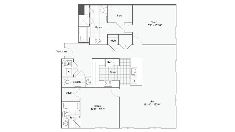 Floor Plan 90| Alamo Apartments San Antonio TX | Arrive Eilan