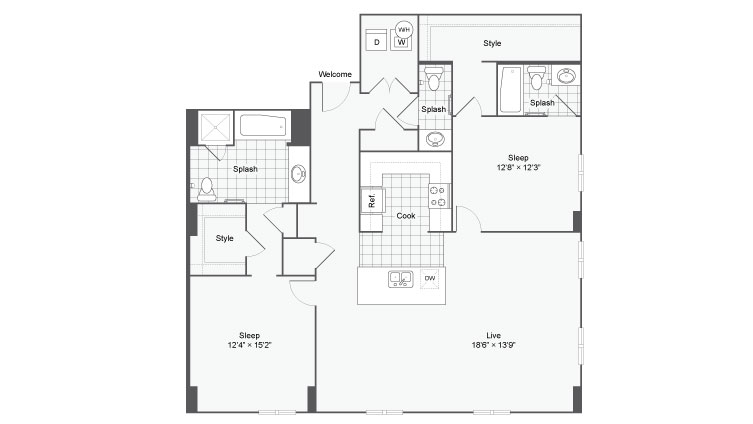 Floor Plan 92| Alamo Apartments San Antonio TX | Arrive Eilan