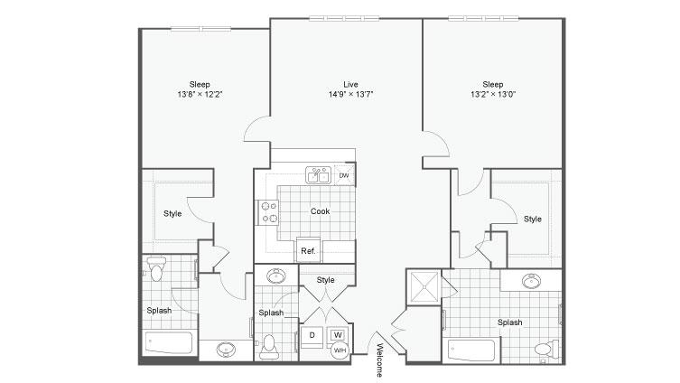 Floor Plan 95| Alamo Apartments San Antonio TX | Arrive Eilan