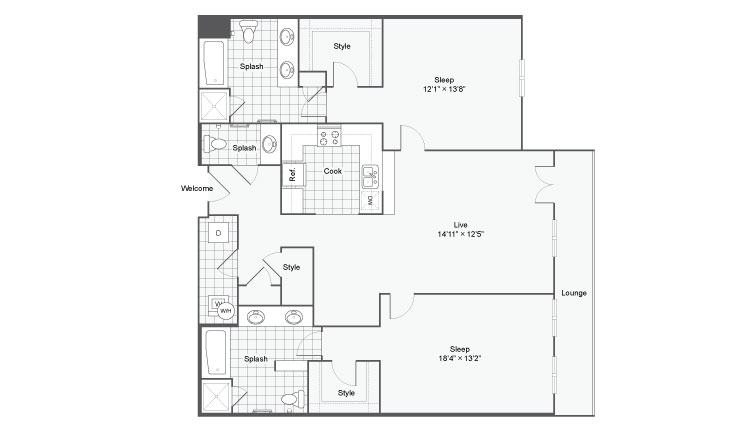 Floor Plan 97| Alamo Apartments San Antonio TX | Arrive Eilan