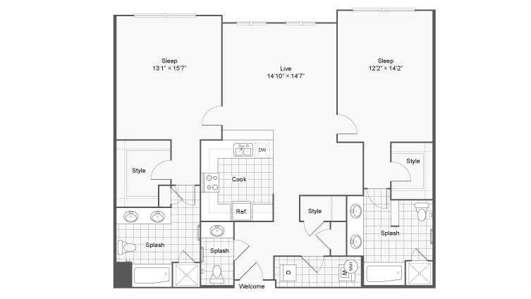 Floor Plan 98| Alamo Apartments San Antonio TX | Arrive Eilan
