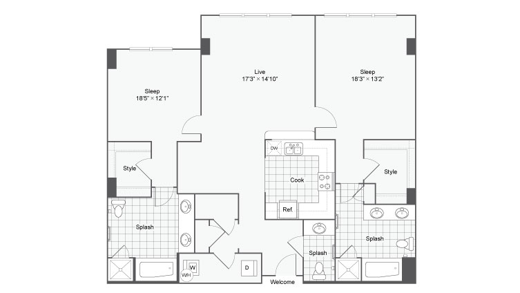 Floor Plan 101| Alamo Apartments San Antonio TX | Arrive Eilan