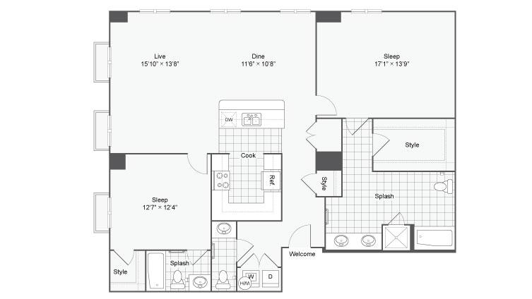 Floor Plan 106| Alamo Apartments San Antonio TX | Arrive Eilan