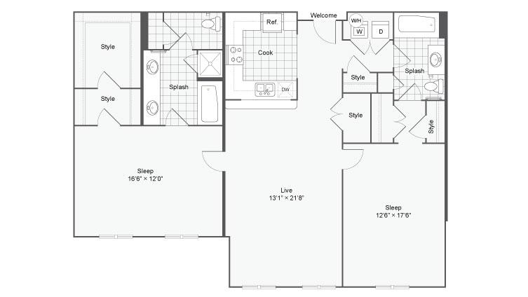 Floor Plan 111| Alamo Apartments San Antonio TX | Arrive Eilan