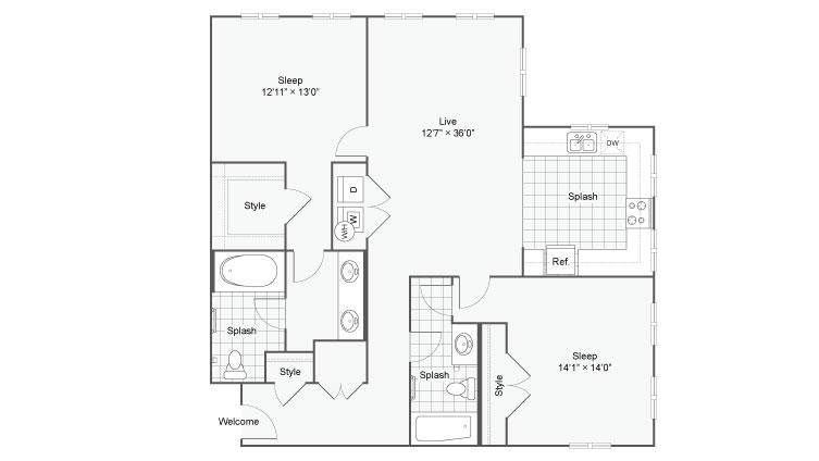 Floor Plan 112| Alamo Apartments San Antonio TX | Arrive Eilan