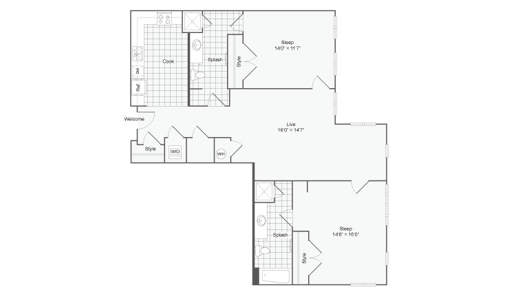 Floor Plan 113| Alamo Apartments San Antonio TX | Arrive Eilan