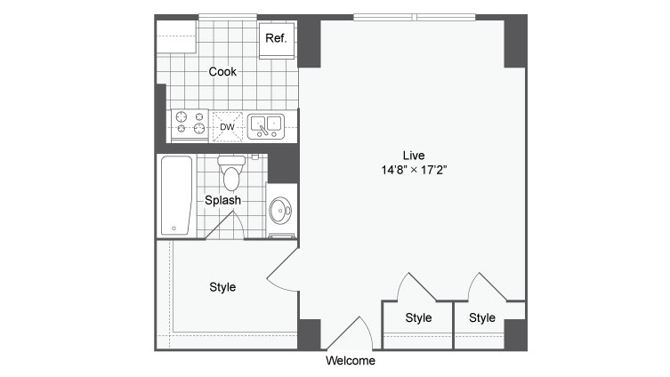 Studio Floor Plan | Baltimore Apartments Near Johns Hopkins | The Social North Charles
