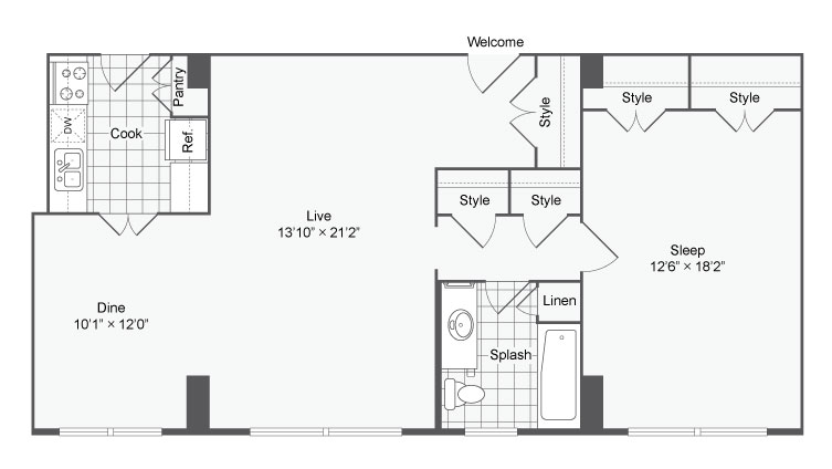 Floor Plan 1 | Apartments Near Johns Hopkins | The Social North Charles