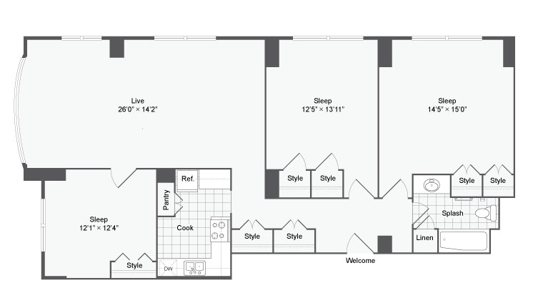 3 Bedroom Floor Plan | Johns Hopkins Apartments | The Social North Charles