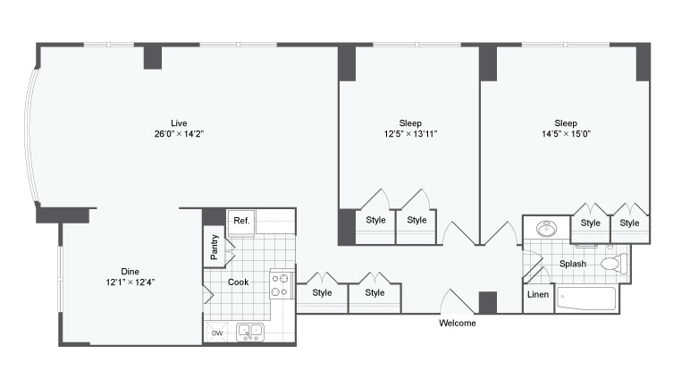 2 Bdrm Floor Plan | Apartments For Rent Near Johns Hopkins University | The Social North Charles