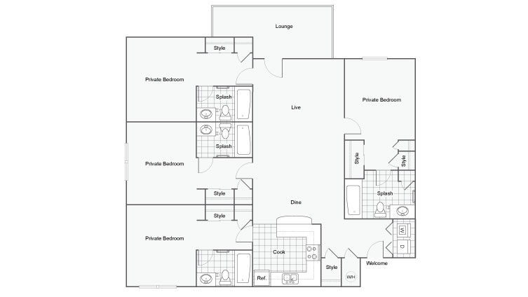 4 Bedroom Floor Plan | FSU Off Campus Housing | The Social 2700 Student Spaces