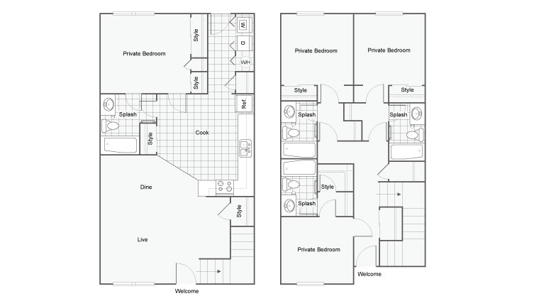 Floor Plan 2 | FSU Off Campus Housing | The Social 2700 Student Spaces