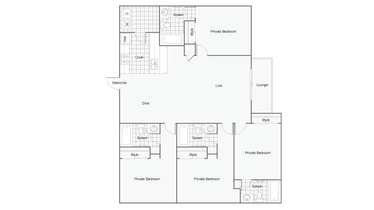 4 Bedroom Floor Plan | Luxury 1 Bedroom Tallahassee Apartments | The Venetian Student Living 3