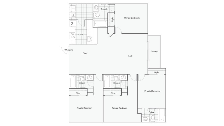 4 Bedroom Floor Plan | Luxury 1 Bedroom Tallahassee Apartments | The Venetian Student Living 2