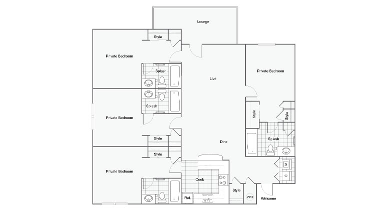 4 Bedroom Floor Plan | Luxury 1 Bedroom Tallahassee Apartments | The Venetian Student Living 1