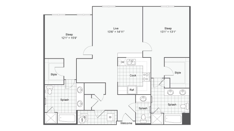 Floor Plan 96| Alamo Apartments San Antonio TX | Arrive Eilan