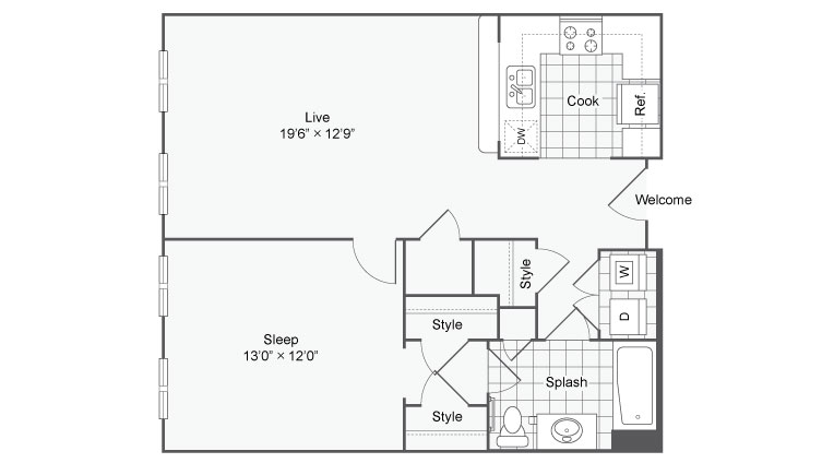 Floor Plan 119| Alamo Apartments San Antonio TX | Arrive Eilan