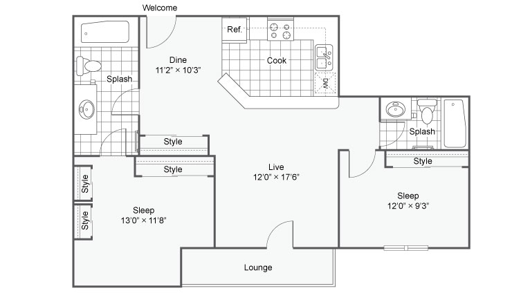 Floor Plan Image | The Fitzgerald Apartment Homes Apartments For Rent Burnsville MN 55337