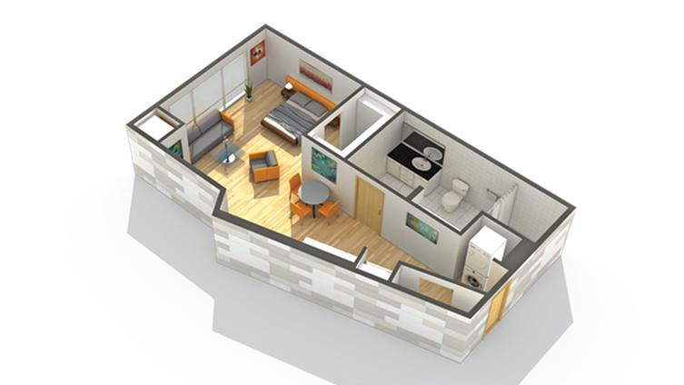 Floor Plan 1 | Luxury Apartments Minneapolis MN | Solhaus Apartments
