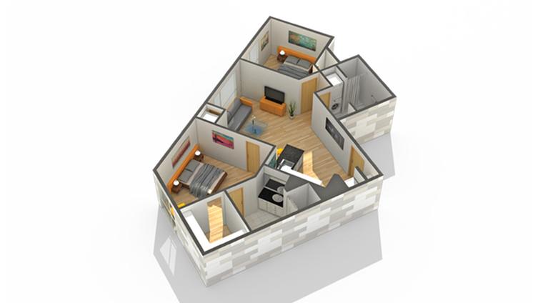 Floor Plan 22 | 1 Bedroom Apartments Minneapolis MN | Solhaus Apartments