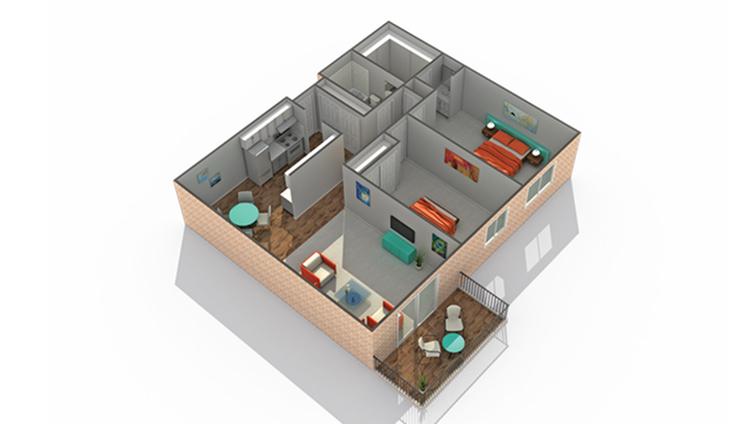Floor Plan 4   Apartments Eden Prairie MN   ReNew Eden Prairie