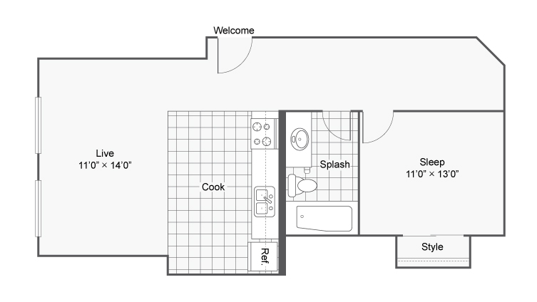 1 Bedroom Floor Plan | Apartments In Denver Colorado | Renew on Stout