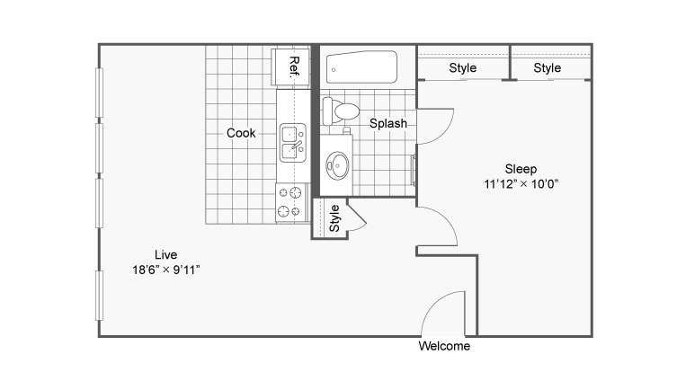 Floor Plan 1 | Apartments In Denver Colorado | Renew on Stout