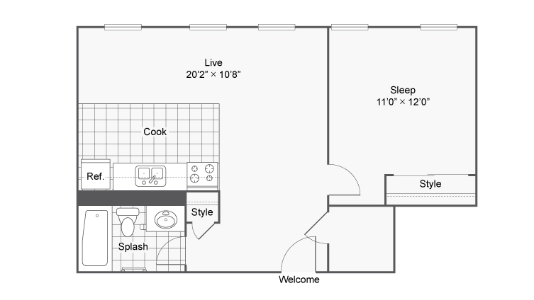 Floor Plan 3 | Denver Colorado Apartments | Renew on Stout
