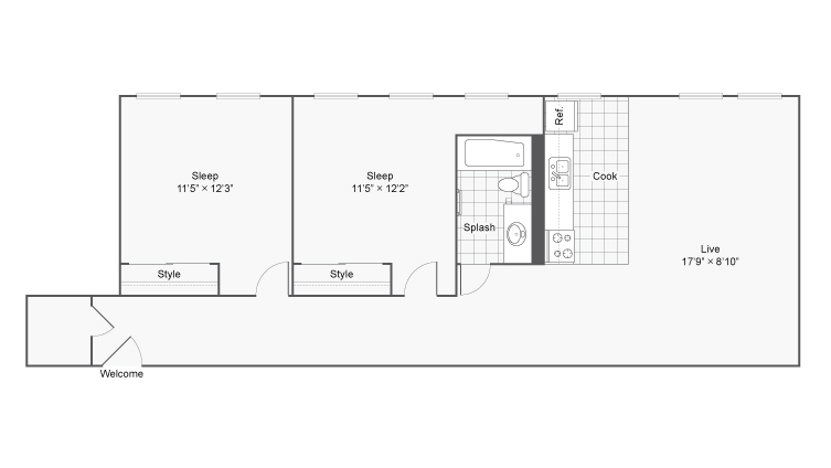 2 Bdrm Floor Plan | Apartments In Denver | Renew on Stout