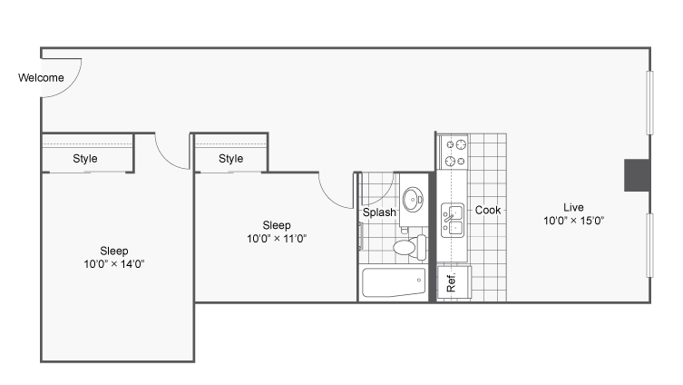 Floor Plan 13 | Denver Colorado Apartments | Renew on Stout